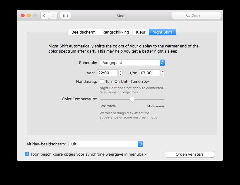 Night Shift op de Mac met instellingen.