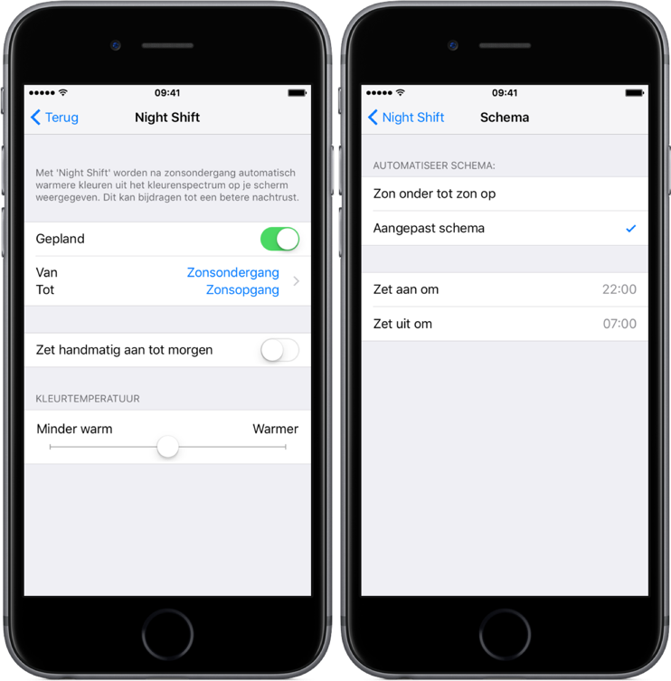 Night Shift voor de iPhone met gepland schema.