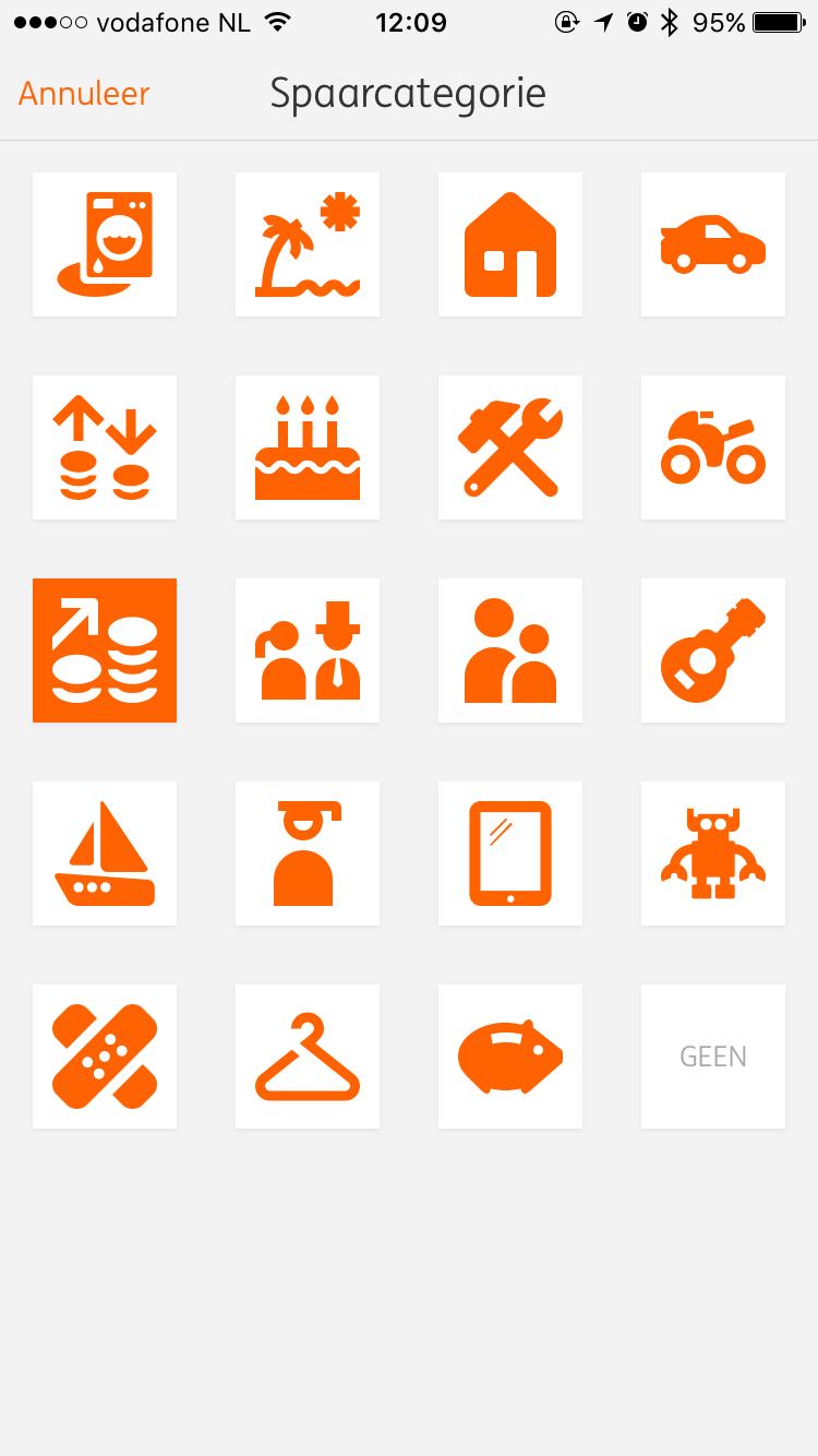 Icoontjes voor spaardoelen in Mobiel Bankieren van ING.