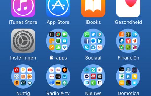 Ronde mappen op een iPhone.