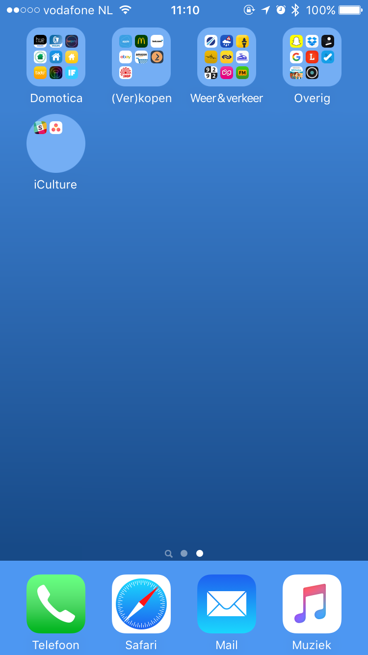 Ronde mappen op het beginscherm van je iPhone.