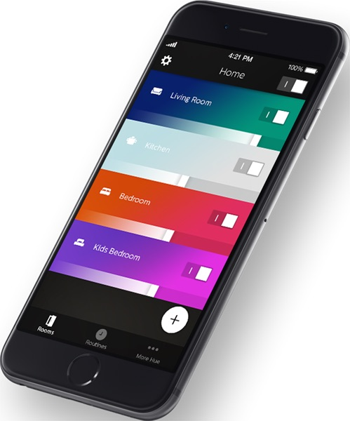 Kamers in de nieuwe Philips Hue Gen 2-app voor iPhone.