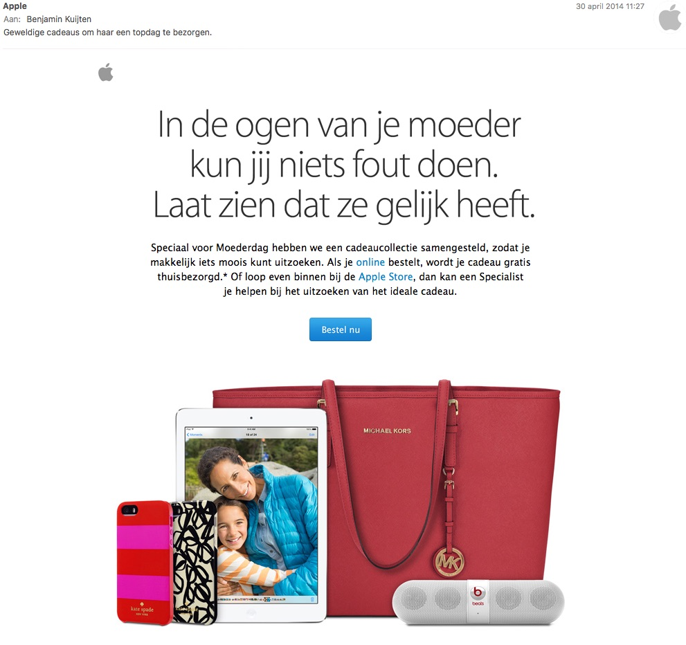 Apple-mail voor moederdag in 2014.