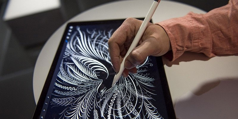 Bladeren tekenen op een iPad Pro
