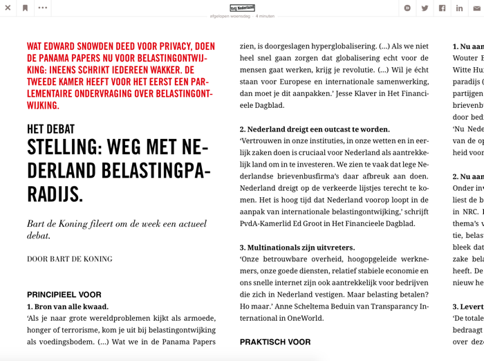 Blendle-opmaak van hetzelfde Vrij Nederland-artikel op de desktop