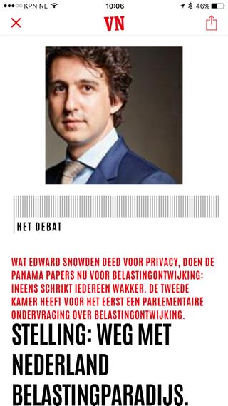 Vrij Nederland: opmaak van het digitale artikel