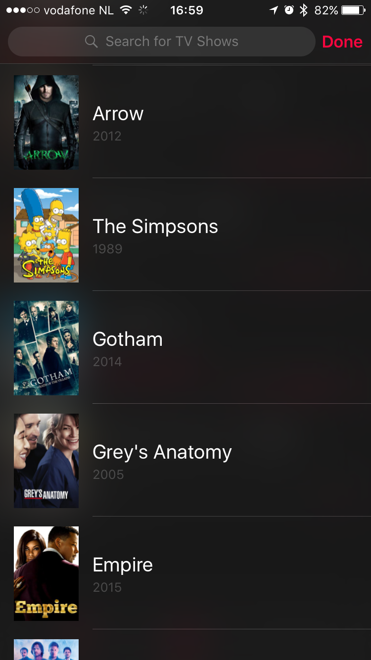 Zoeken naar een serie in Serist voor de iPhone.