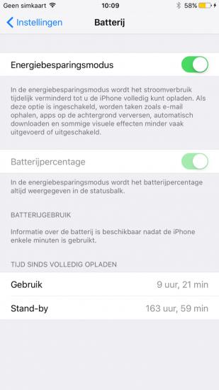 Energiebesparingsmodus en Night Shift in iOS 9.3.2 beta 2.