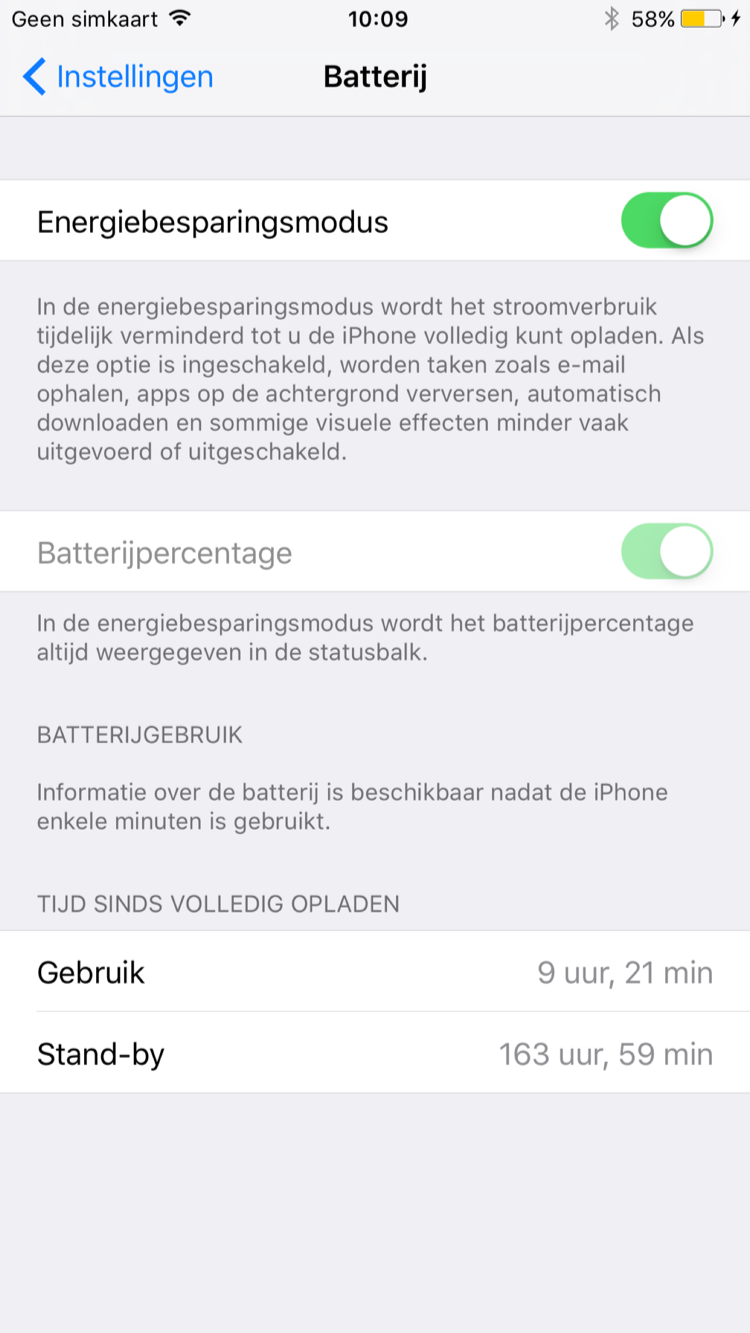 Energiebesparingsmodus en Night Shift in iOS 9.3.2 beta 2.