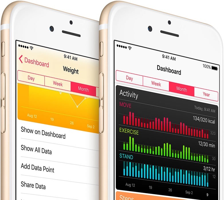 Gezondheid-app op twee iPhones.