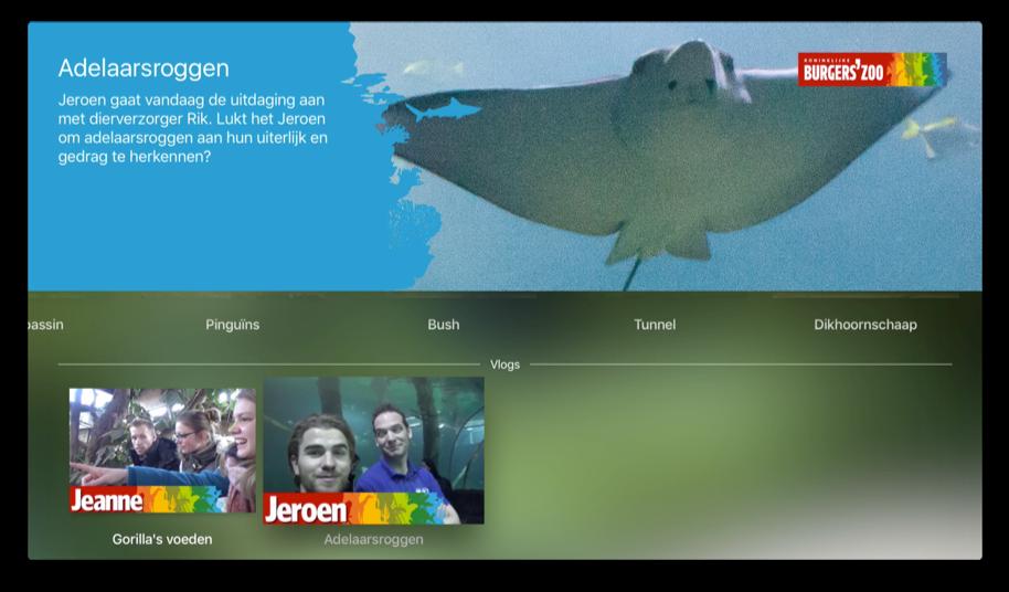 Zoo in Huis van Burgers Zoo op de Apple TV heeft ook vlogs.