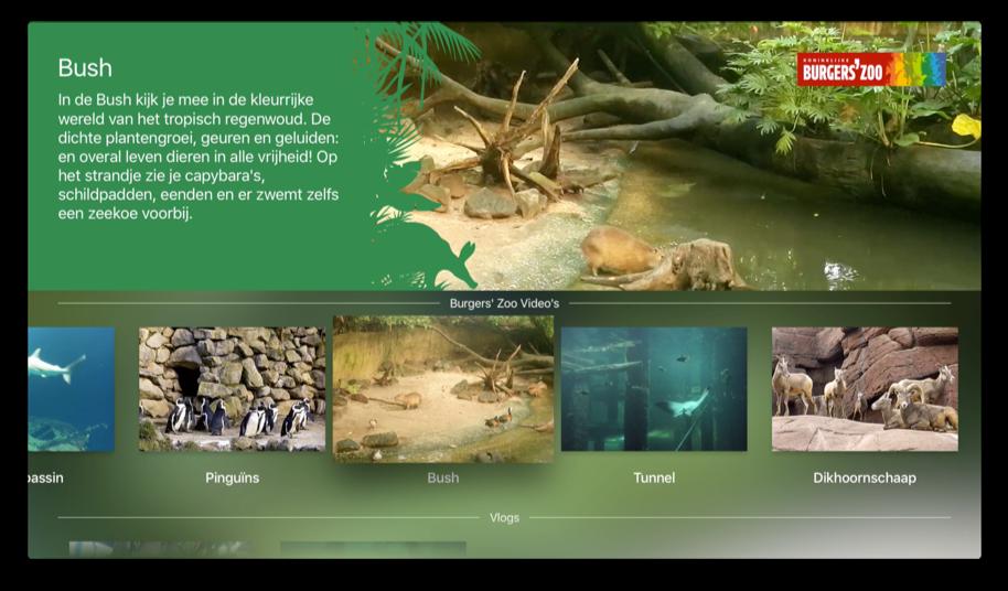 Zoo in Huis van Burgers Zoo op de Apple TV met een Bush-video.