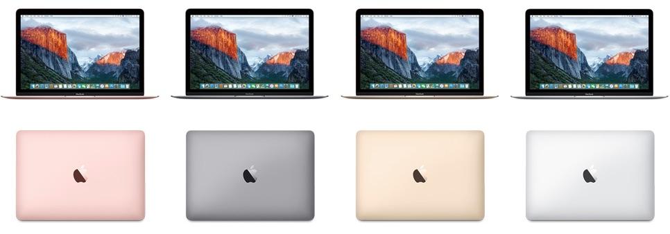 De volledige line-up van de nieuwste MacBook met roségoud.