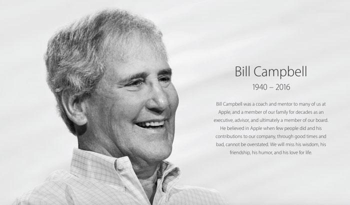 Bill Campbell op homepage van Apple