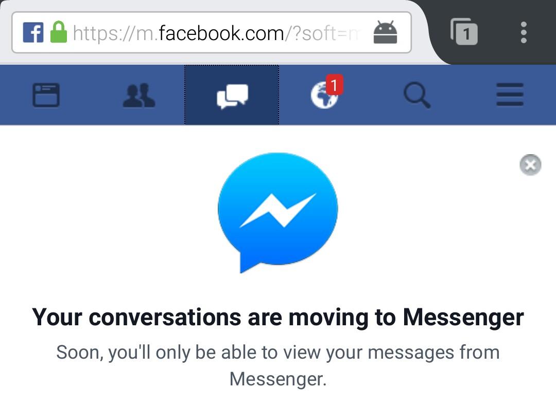 Facebook Messenger niet meer te bereiken via mobiele Facebook-website.
