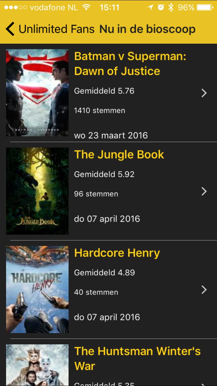 Unlimited Fans voor de iPhone met films die in de bioscoop draaien.