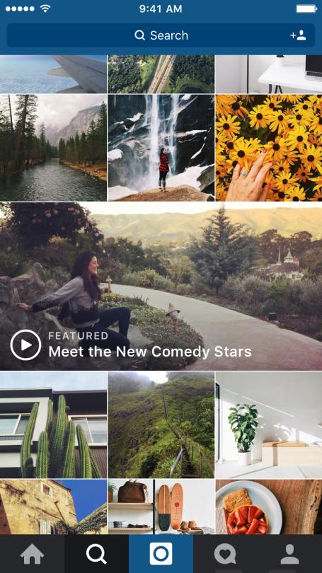 Instagram toont grotere video's in Verkennen-tabblad.