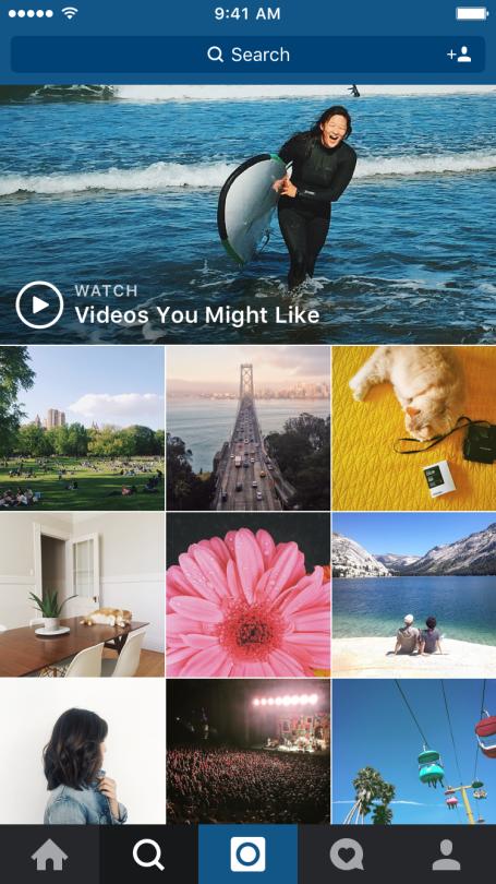 Instagram met nieuw video overzicht in Verkennen-tabblad.