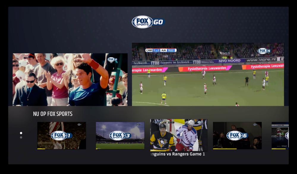 FOX Sports op de Apple TV laat je twee streams tegelijkertijd kijken.