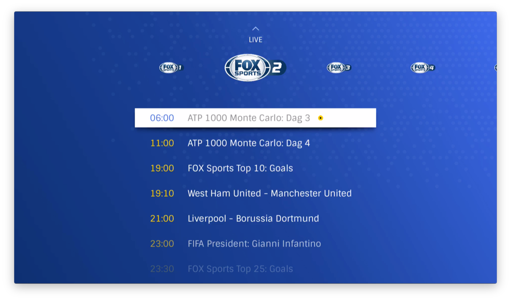 FOX Sports op de Apple TV met tv-gids.