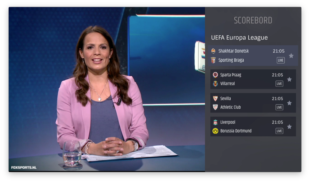 FOX Sports op de Apple TV met een scorebord.