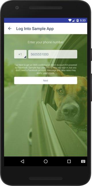 Account Kit: telefoonnummer invoeren