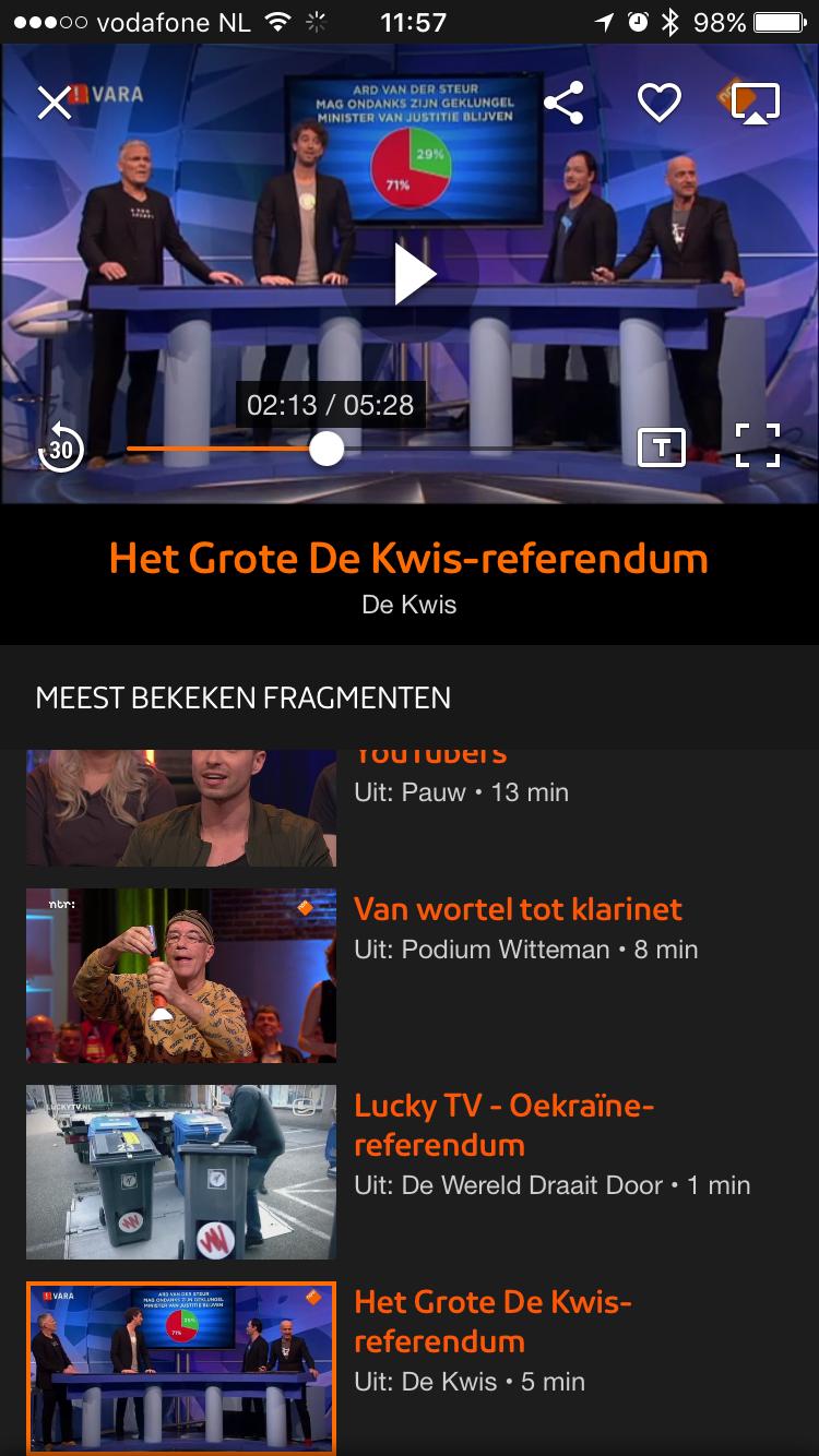 NPO-app voor iPhone en iPad met knop voor ondertiteling en terugspoelen.