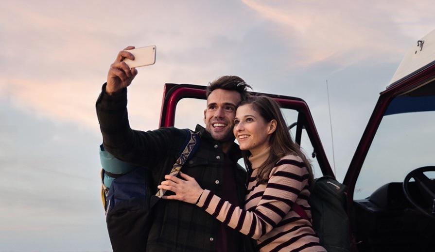 Selfie maken in het buitenland met een iPhone.