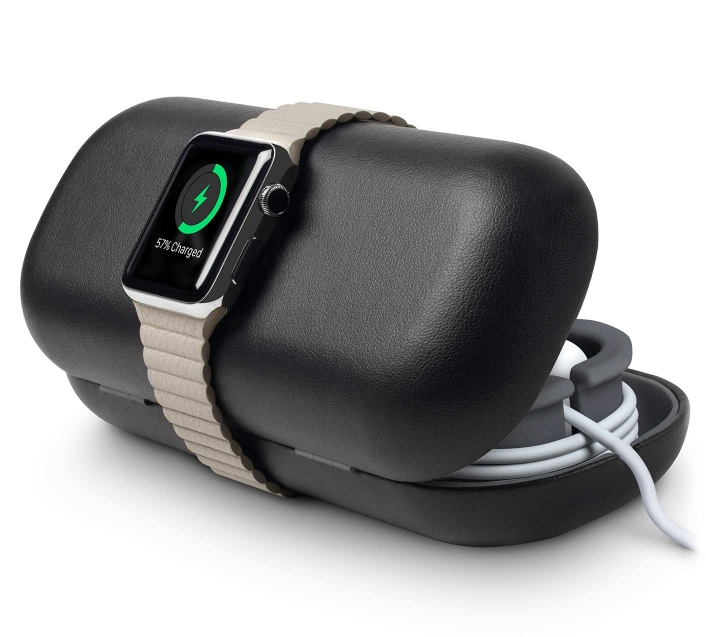 Zwarte Twelve South TimePorter Apple Watch dock.