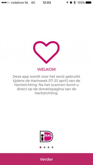 iDEAL-app met QR-code voor doneren tijdens hartweek.