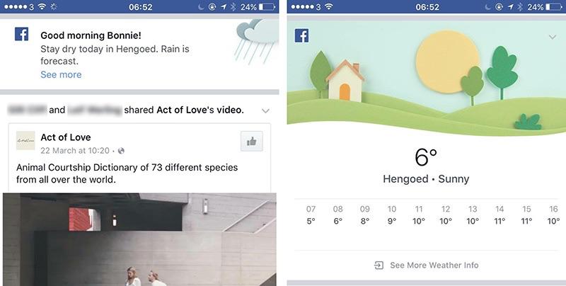 Facebook-app met weerbericht in tijdlijn.