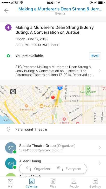 Outlook voor iPhone werkt samen met je Facebook-agenda.