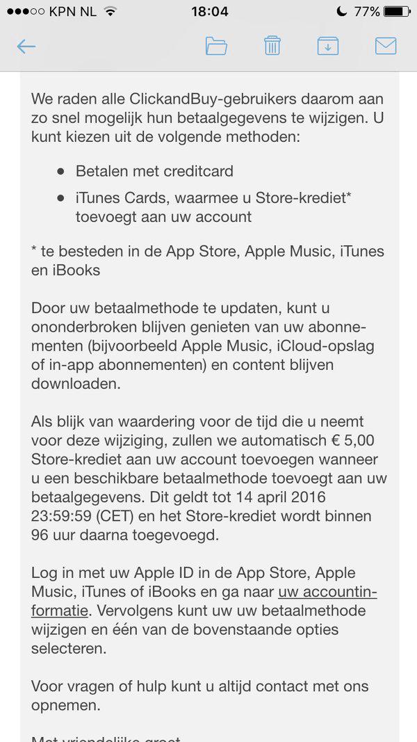 ClickandBuy: 5 euro iTunes-tegoed van Apple