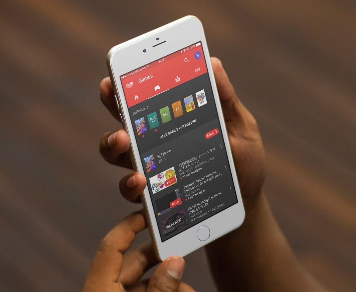 YouTube Gaming op een iPhone.