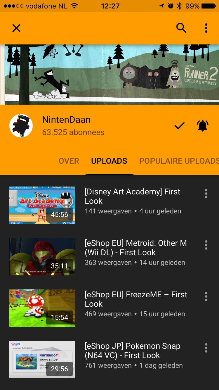 YouTube Gaming-kanaal met video's.