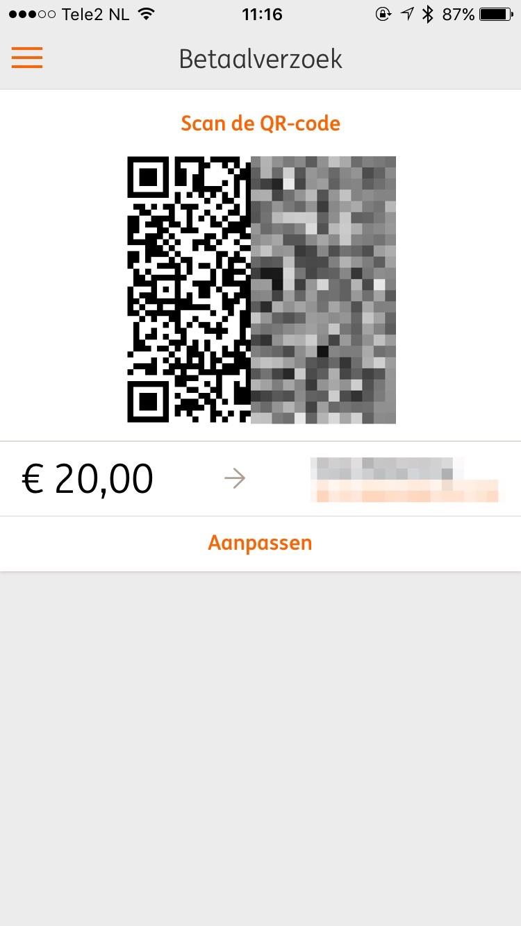 QR-code met betaalverzoek in ING Mobiel Bankieren.