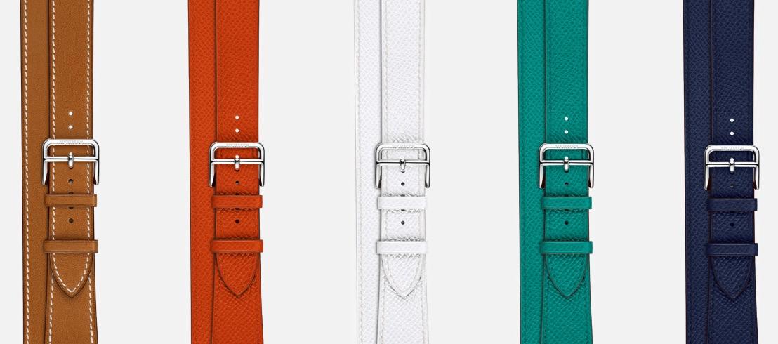 Apple Watch-bandjes van Hermès in verschillende kleuren.
