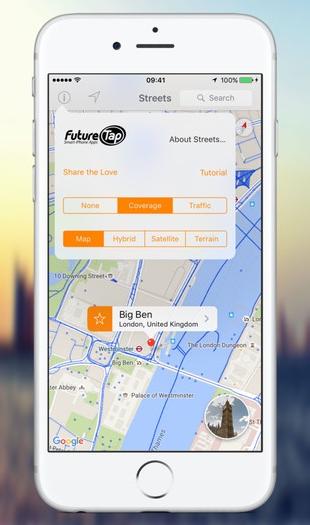 Streets 3 met een kaart op de iPhone.