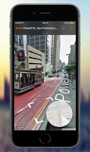Streets 3 met Street View op de iPhone.