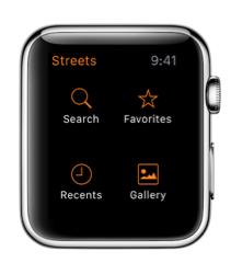 Streets 3 op de Apple Watch met het hoofdmenu.