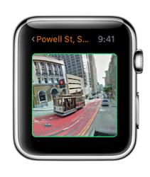 Streets 3 op de Apple Watch met een panorama.