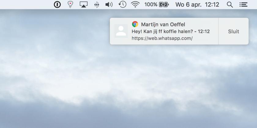 Een standaard pushbericht van Google Chrome op de Mac.