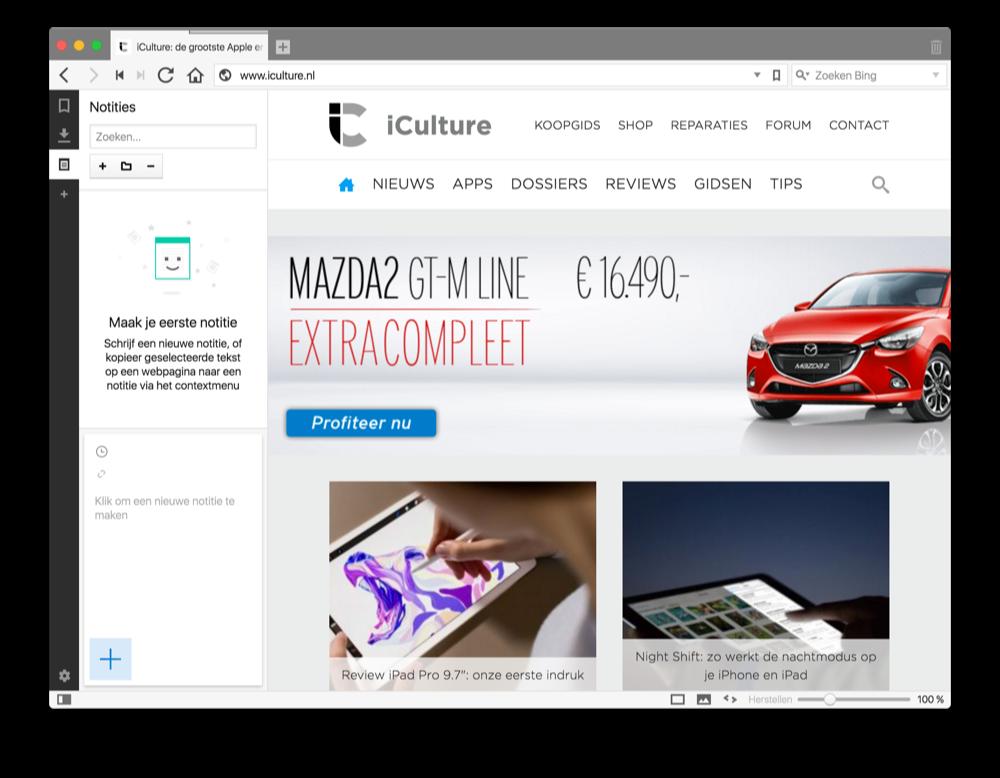 Vivaldi internetbrowser voor de Mac laat je makkelijk notities maken.