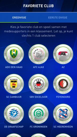 Kies een club in Matchwinner.