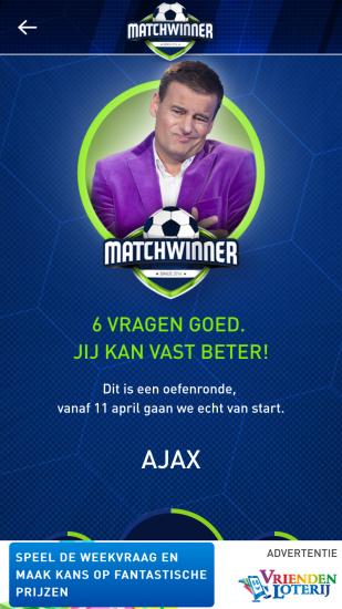 Matchwinner uitslag van vragen.