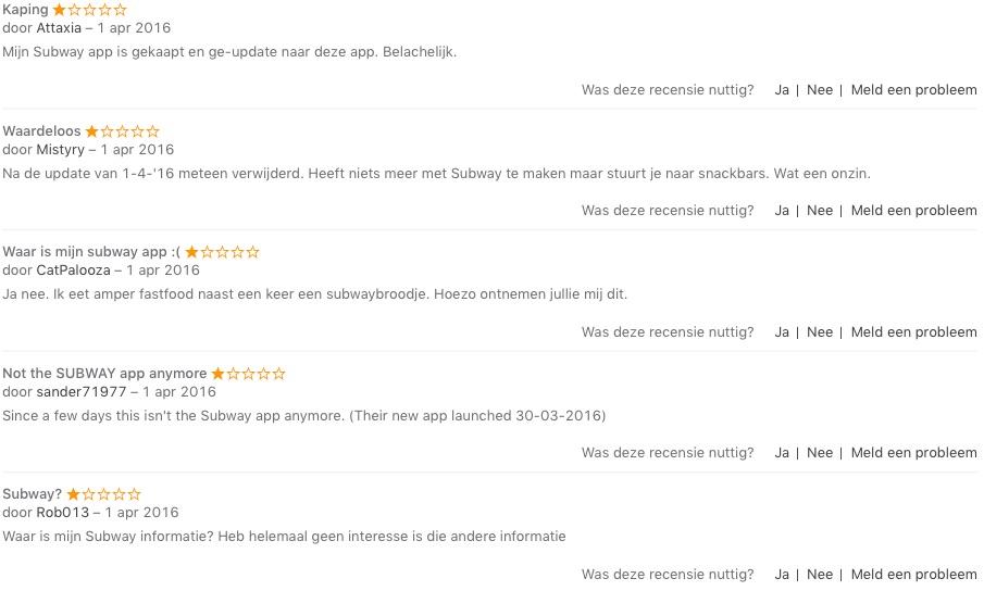 Prise prijsvergelijker beoordeling in de App Store.