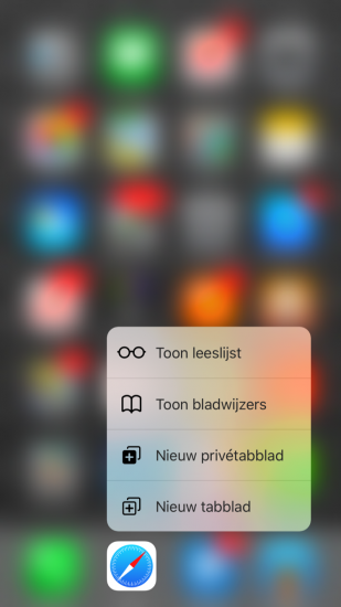 3D Touch in Safari op iOS.