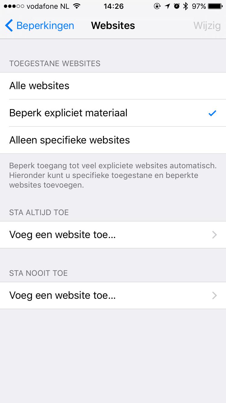 Websitebeperking in Safari op iOS.
