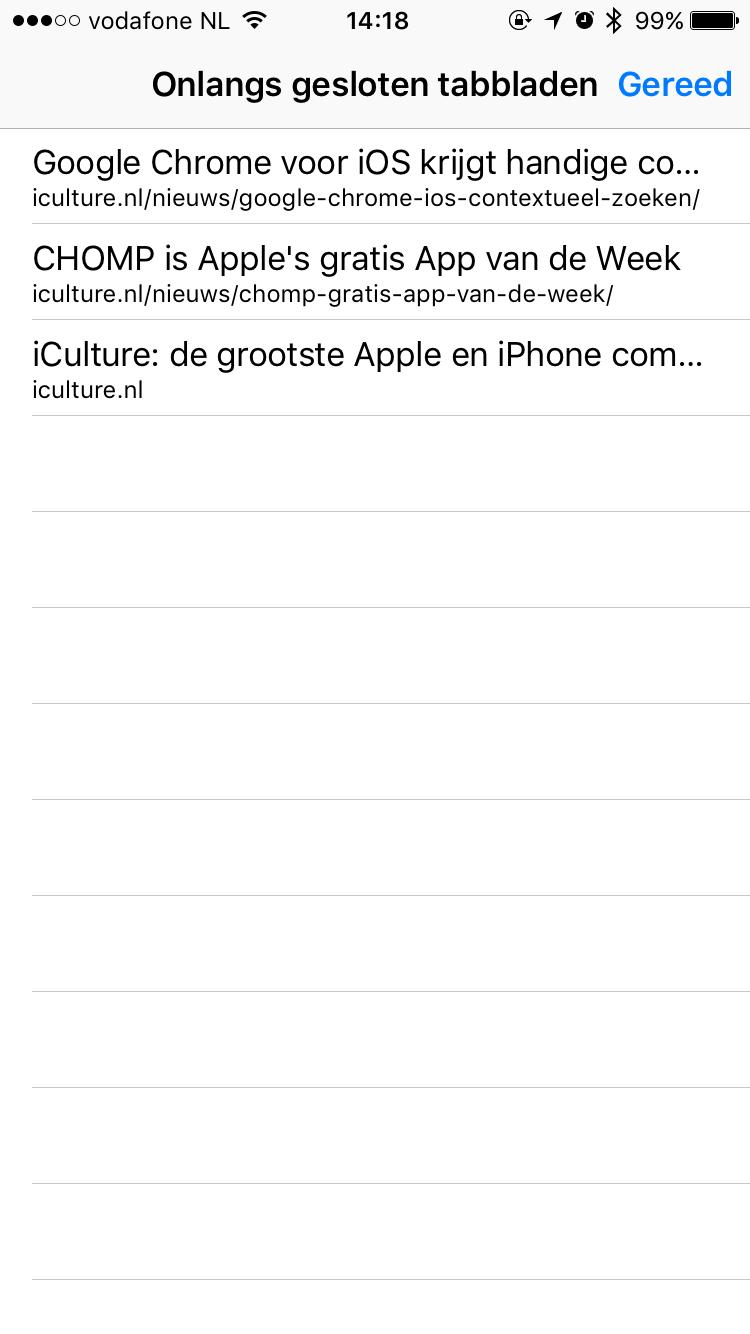 Lijst van onlangs gesloten tabbladen in Safari op iOS.