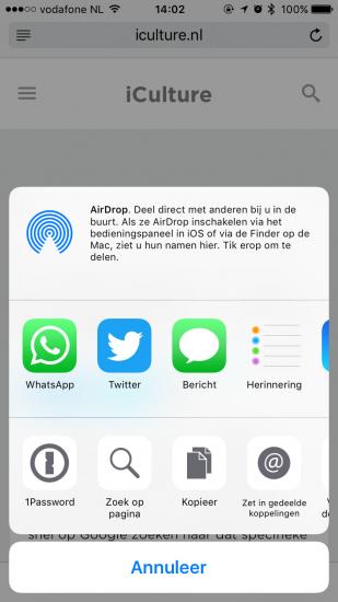 Zoeken naar woorden op een webpagina in Safari via het delen-menu op iOS.